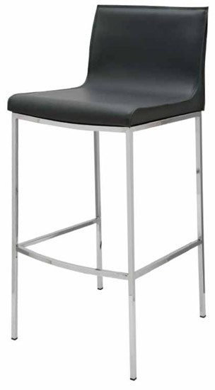 Colter Leather Counter Stool With Black Leather Upholstery