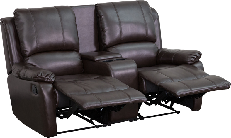 Allure Series 2-Seat Reclining Pillow Back Brown Leather Theater Seating  Unit with Cup Holders - by Flash Furniture