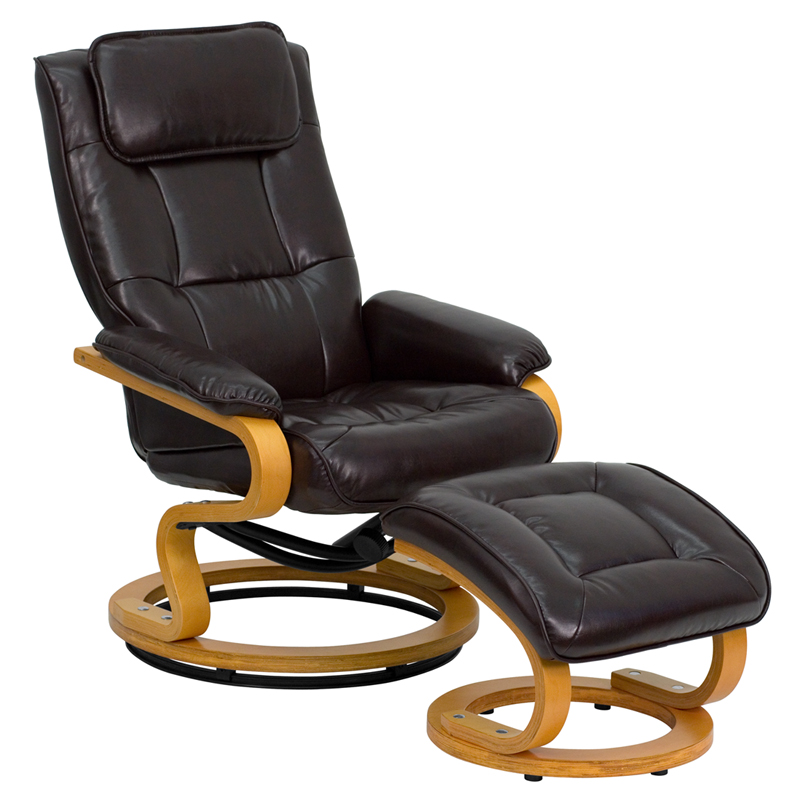 Phenomenal Contemporary Brown Leather Recliner And Ottoman With Swiveling Maple Wood Base By Flash Furniture Onthecornerstone Fun Painted Chair Ideas Images Onthecornerstoneorg
