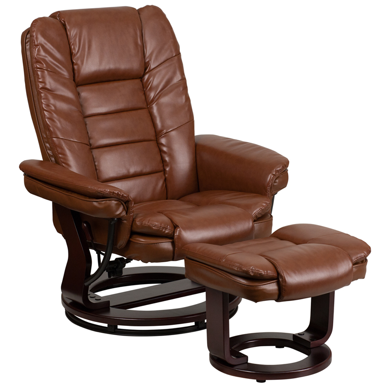 Remarkable Contemporary Brown Vintage Leather Recliner And Ottoman With Swiveling Mahogany Wood Base By Flash Furniture Onthecornerstone Fun Painted Chair Ideas Images Onthecornerstoneorg