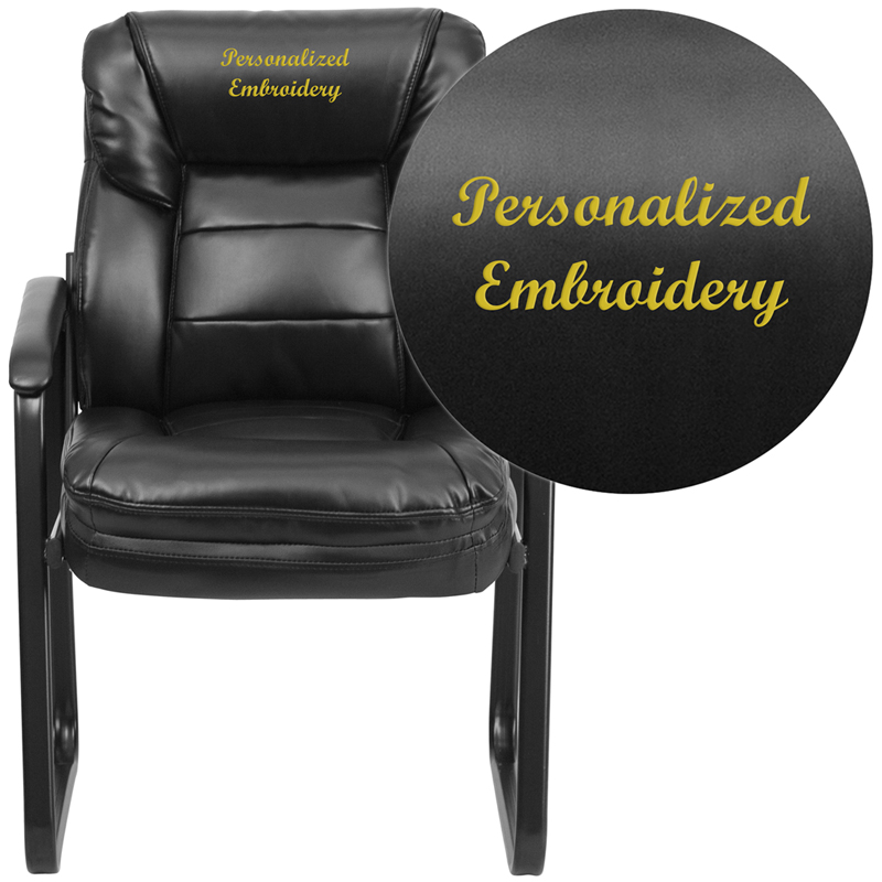 embroidered black leather executive side reception chair with sled