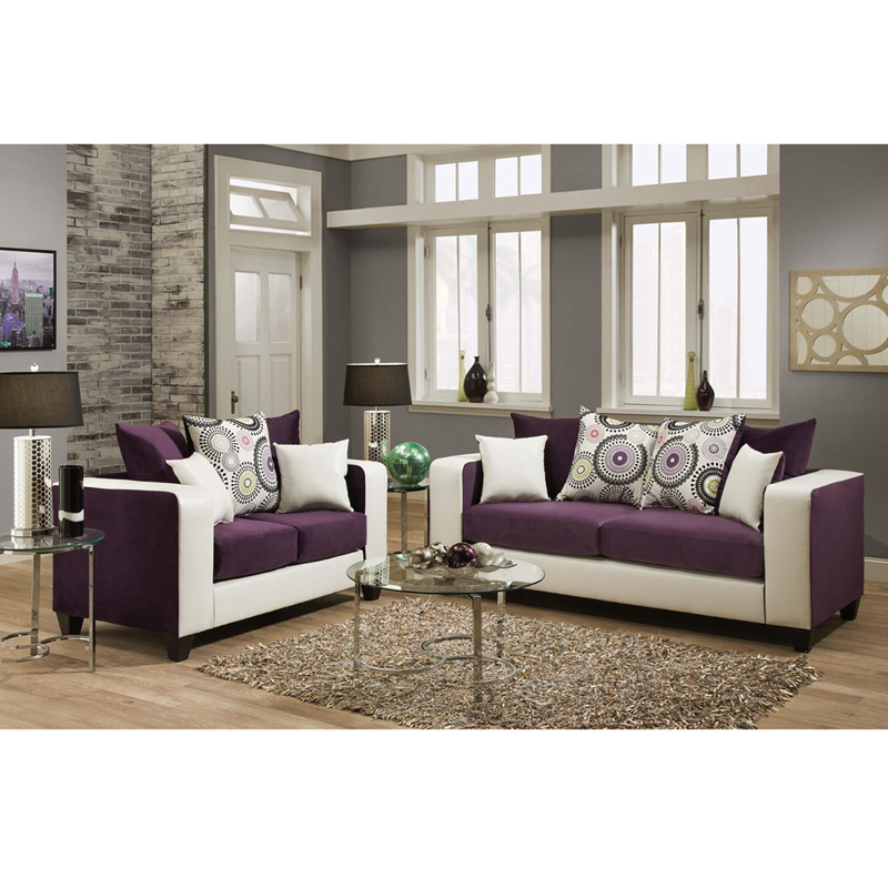 Riverstone Implosion Purple Velvet Living Room Set By Flash Furniture