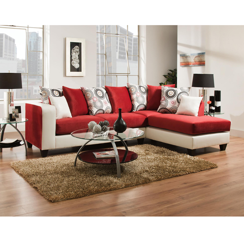 Riverstone Implosion Red Velvet Sectional - by Flash Furniture