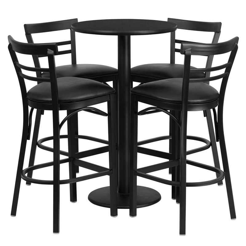 Remarkable 24 Round Black Laminate Table Set With 4 Ladder Back Metal Barstools Black Vinyl Seat By Flash Furniture Ibusinesslaw Wood Chair Design Ideas Ibusinesslaworg