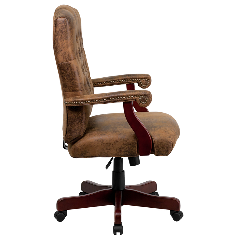 Bomber Brown Classic Executive Swivel Chair With Arms   By Flash Furniture