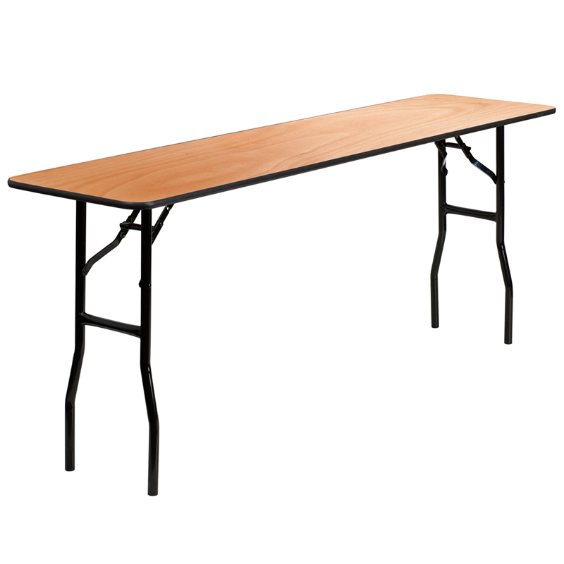 18 X 72 Rectangular Wood Folding Training Seminar Table With Smooth Clear Coated Finished Top By Flash Furniture