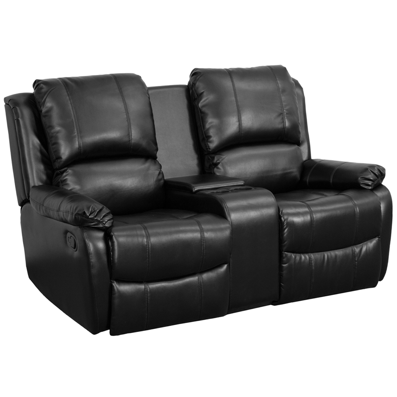 Allure Series 2-Seat Reclining Pillow Back Black Leather Theater ...