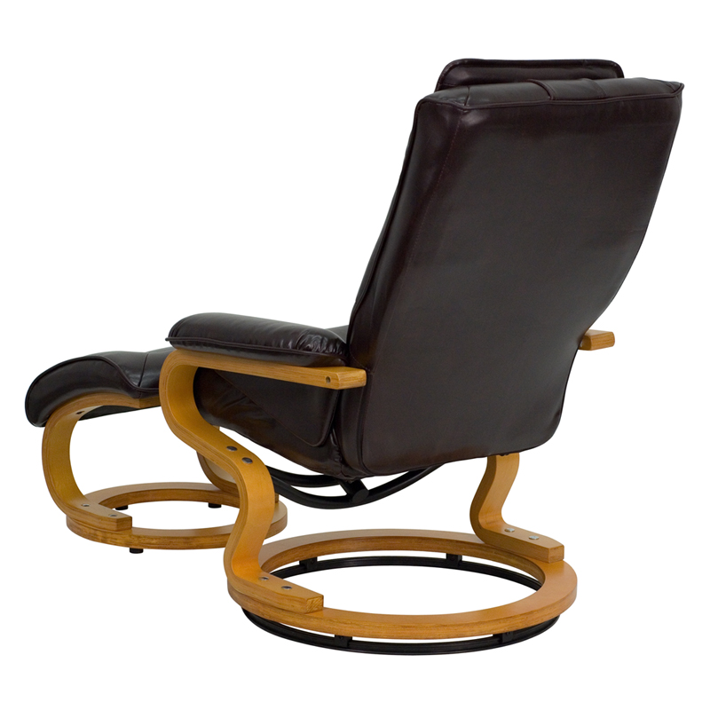 Awesome Contemporary Brown Leather Recliner And Ottoman With Swiveling Maple Wood Base By Flash Furniture Dailytribune Chair Design For Home Dailytribuneorg