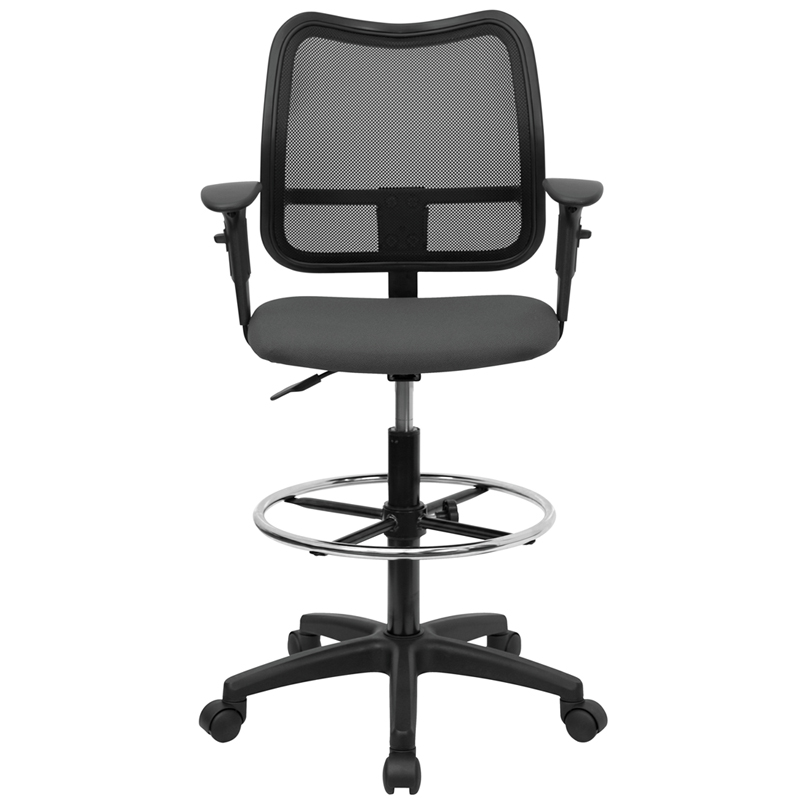 Surprising Mid Back Gray Mesh Drafting Chair With Adjustable Arms By Flash Furniture Gmtry Best Dining Table And Chair Ideas Images Gmtryco