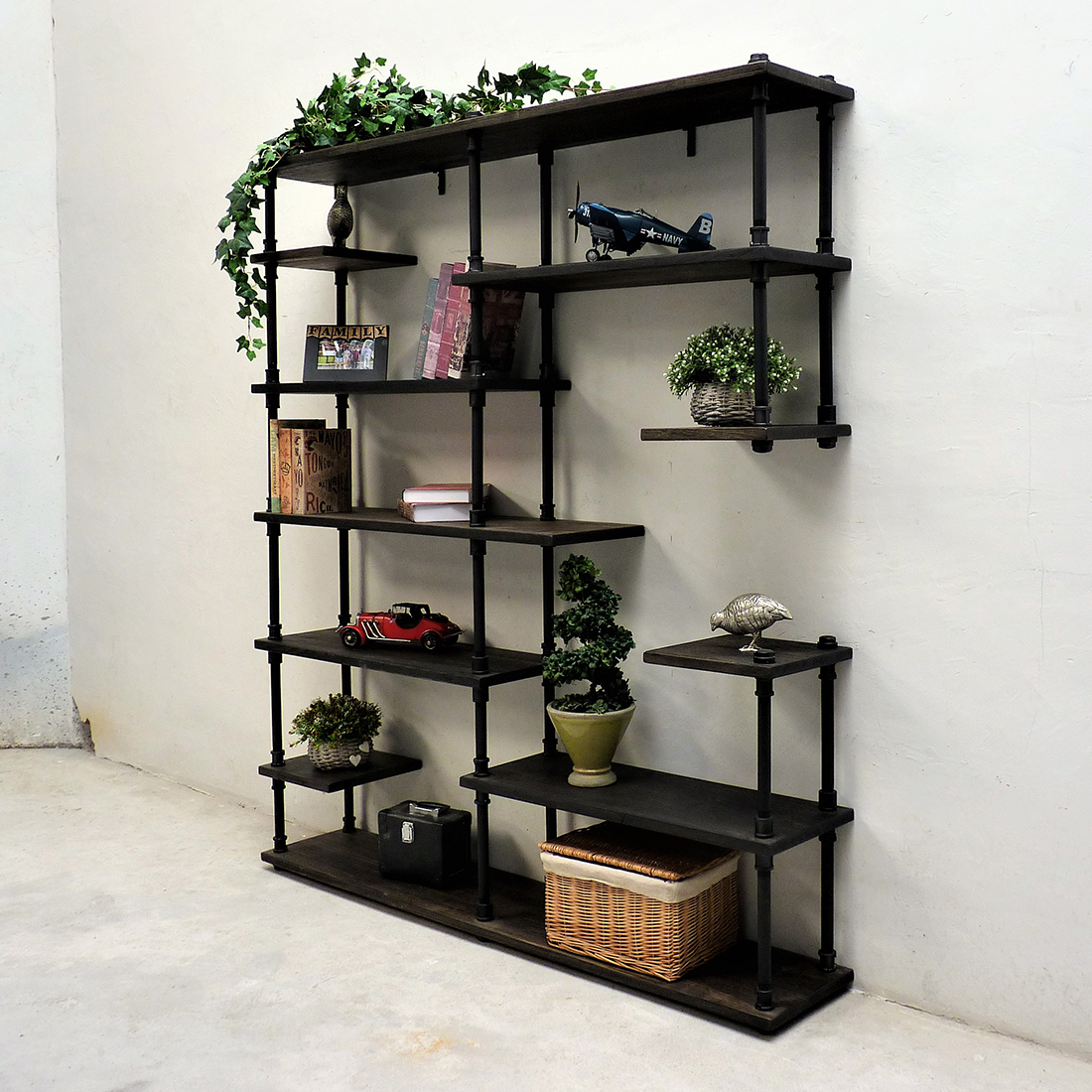 Nashville Industrial Mid Century Etagere Bookcase In Black Steel Combo With Dark Brown Stained Wood By Furniture Pipeline