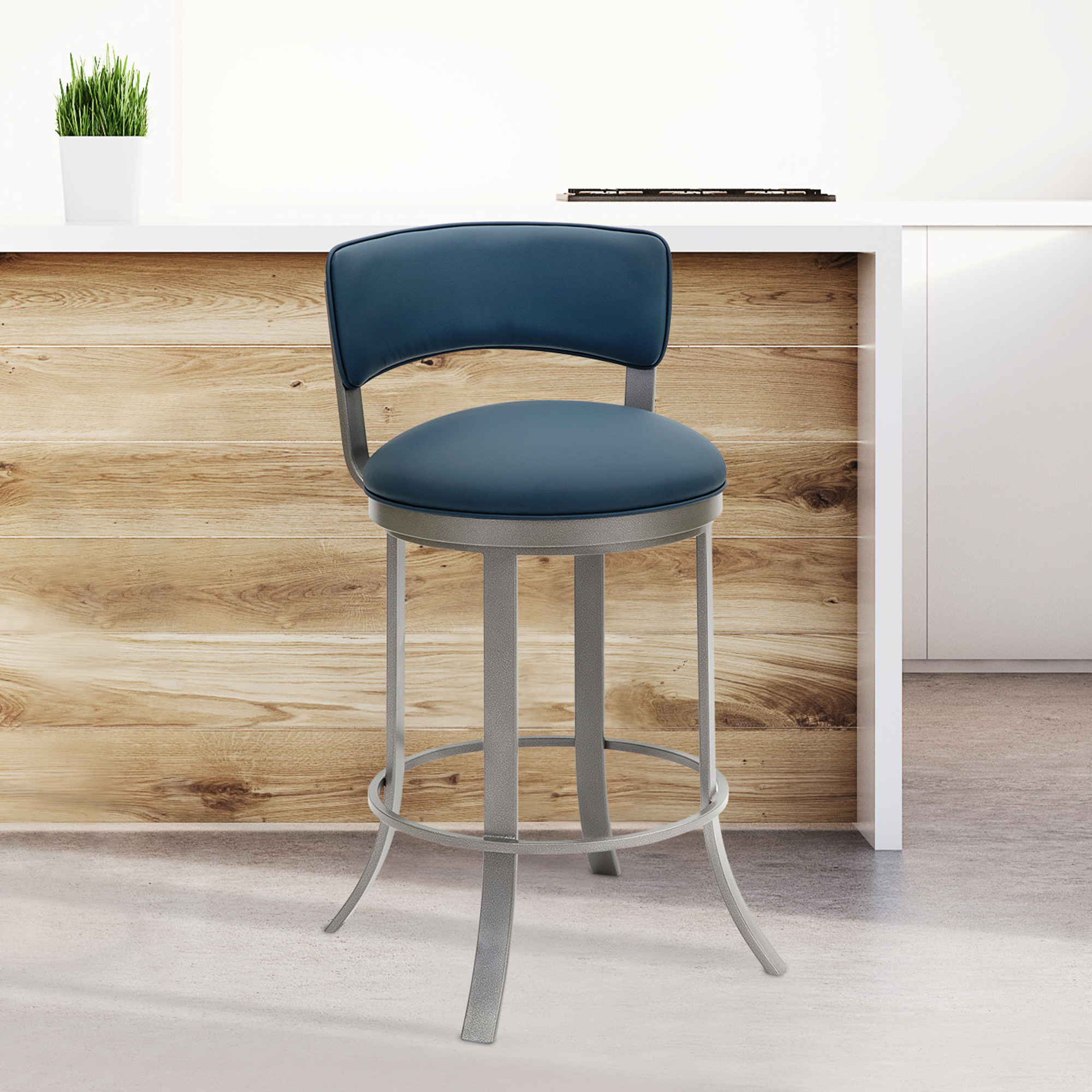 Wondrous Sydney 26 Counter Height Metal Swivel Barstool In Dillon Williamsburg Faux Leather And Silver Palladium Finish By Taylor Gray Home Theyellowbook Wood Chair Design Ideas Theyellowbookinfo