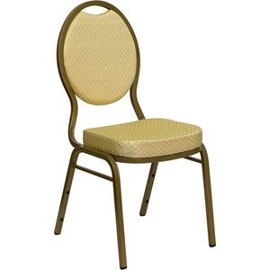 Captivating HERCULES Series Teardrop Back Stacking Banquet Chair With Beige Patterned  Fabric And 2.5 Inch Thick Seat   Gold Frame By Flash Furniture