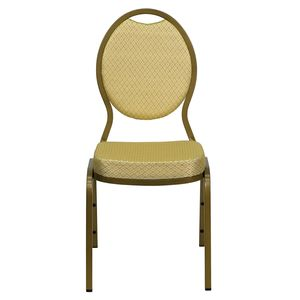 Beige Patterned HERCULES™ Series Teardrop Banquet Chair - Gold Frame, 2.5'' Thick Seat by Flash Furniture