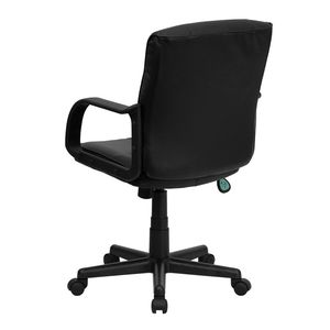 Eco-Friendly Black Leather Mid-Back Office Chair with Nylon Arms by Flash Furniture