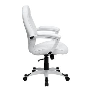 Eco-Friendly White Leather Mid-Back Executive Office Chair by Flash Furniture
