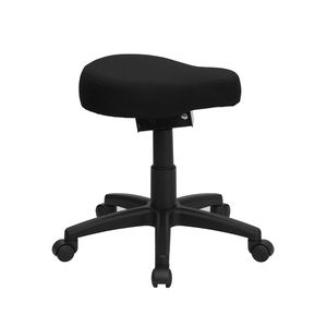 Black Saddle-Seat Utility Stool with Height and Angle Adjustment by Flash Furniture