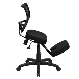 Black Fabric Ergonomic Kneeling Chair with Mesh Back by Flash Furniture