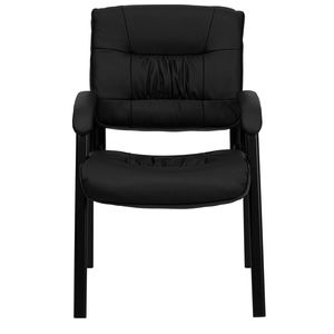 Eco-Friendly Black Leather Guest / Reception Chair with Black Frame Finish by Flash Furniture