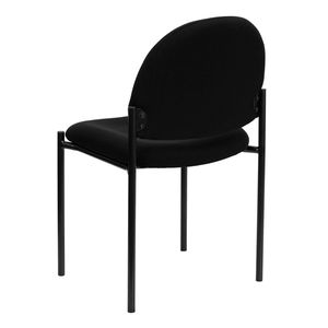 Black Fabric Comfortable Stackable Steel Side Chair by Flash Furniture