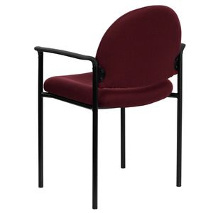 Burgundy Fabric Comfortable Stackable Steel Side Chair with Arms by Flash Furniture
