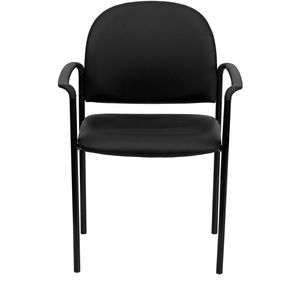 Black Vinyl Comfortable Stackable Steel Side Chair with Arms by Flash Furniture