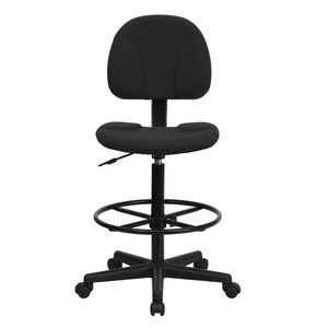 Black Patterned Fabric Multi-Functional Ergonomic Drafting Stool (Adjustable Range 26''-30.5''H or 22.5''-27''H) by Flash Furniture