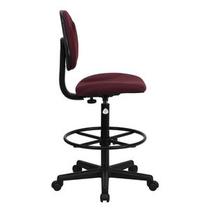 Burgundy Fabric Multi-Functional Ergonomic Drafting Stool (Adjustable Range 26''-30.5''H or 22.5''-27''H) by Flash Furniture