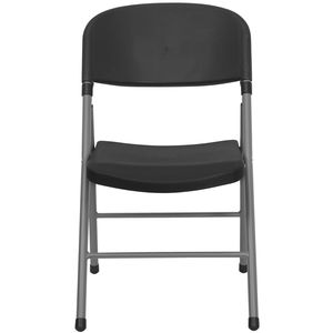 Black Plastic Folding Chair with Charcoal Frame by Flash Furniture