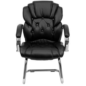 Black Leather Transitional Side Chair with Padded Arms and Sled Base by Flash Furniture