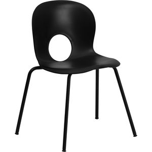 HERCULES™  Designer Black Plastic Stack Chair with Black Powder Coated Frame Finish by Flash Furniture