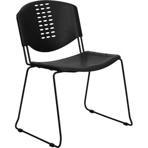 HERCULES™ Black Plastic Stack Chair with Black Powder Coated Frame Finish by Flash Furniture