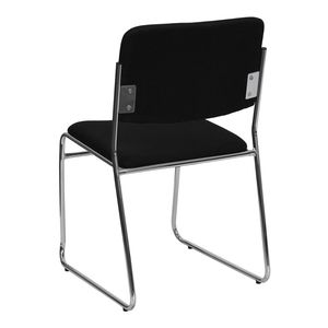 HERCULES™ 1500 lb. Capacity Black Fabric High Density Stacking Chair with Chrome Sled Base by Flash Furniture