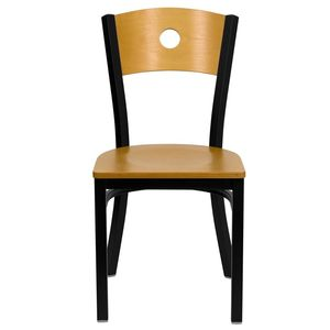 HERCULES™ Black Circle Back Metal Restaurant Chair - Natural Wood Back & Seat by Flash Furniture