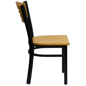 HERCULES™ Black Slat Back Metal Restaurant Chair - Natural Wood Back & Seat by Flash Furniture