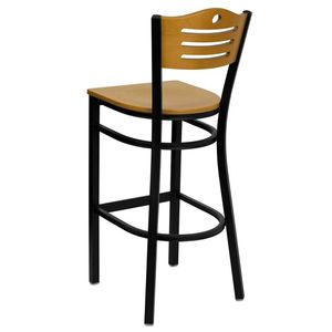 HERCULES™ Black Slat Back Metal Restaurant Bar Stool - Natural Wood Back & Seat by Flash Furniture