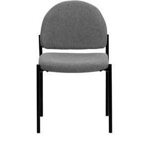 Gray Fabric Comfortable Stackable Steel Side Chair by Flash Furniture