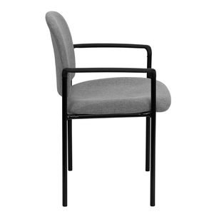 Gray Fabric Comfortable Stackable Steel Side Chair with Arms by Flash Furniture
