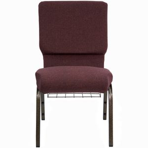 HERCULES™ 18.5''W Plum Fabric Church Chair with Book Rack - Gold Vein Frame by Flash Furniture