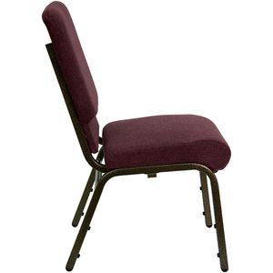 HERCULES™ 18.5''W Plum Fabric Stacking Church Chair - Gold Vein Frame by Flash Furniture