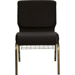 HERCULES™ 21'' Extra Wide Black Dot Church Chair with 4'' Thick Seat, Book Rack - Gold Vein Frame by Flash Furniture