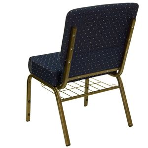 HERCULES™ 21'' Extra Wide Navy Blue Dot Church Chair with 4'' Thick Seat, Book Rack - Gold Vein Frame by Flash Furniture