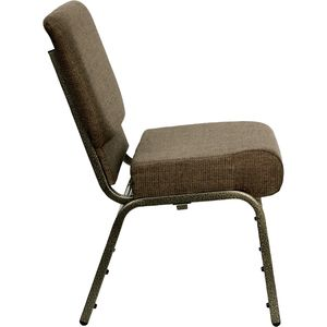 HERCULES™ 21'' Extra Wide Brown Church Chair with 4'' Thick Seat - Gold Vein Frame by Flash Furniture