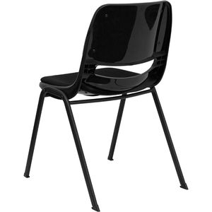 HERCULES™ Black Ergonomic Shell Stack Chair with Padded Seat and Back by Flash Furniture