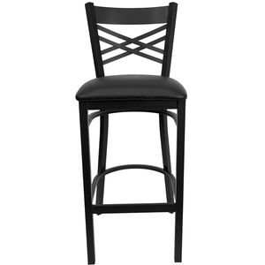 HERCULES™ Black ''X'' Back Metal Restaurant Bar Stool - Black Vinyl Seat by Flash Furniture