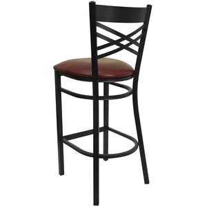 HERCULES™ Black ''X'' Back Metal Restaurant Bar Stool - Burgundy Vinyl Seat by Flash Furniture