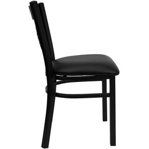 HERCULES™ Black ''X'' Back Metal Restaurant Chair - Black Vinyl Seat by Flash Furniture