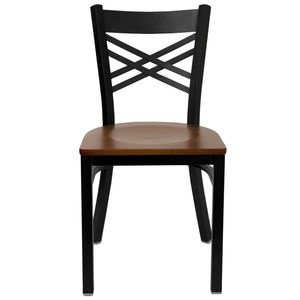 "HERCULES™ Black """"X"""" Back Metal Restaurant Chair - Cherry Wood Seat by Flash Furniture"