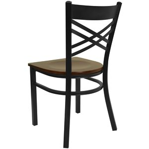 "HERCULES™ Black """"X"""" Back Metal Restaurant Chair - Mahogany Wood Seat by Flash Furniture"