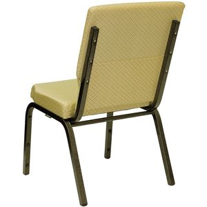 HERCULES™ 18.5''W Beige Patterned Church Chair - Gold Vein Frame Finish by Flash Furniture