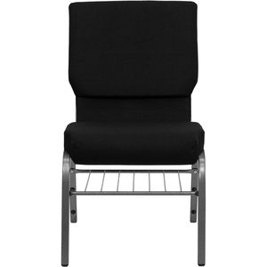 HERCULES™ 18.5''W Black Stacking Church Chair - Silver Vein Frame Finish, Book Basket by Flash Furniture